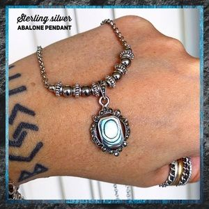 Sterling silver Abalone pendant plus steel chain